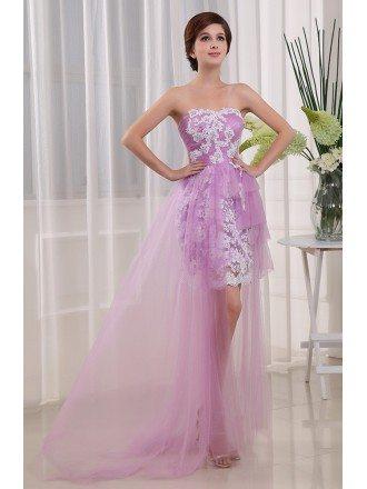 A-line Strapless Asymmetrical Lace Chiffon Prom Dress