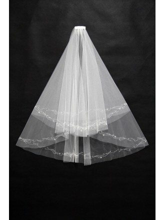 Simple Short White Wedding Veil with Beading