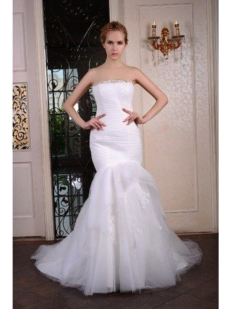 Mermaid Strapless Court Train Organza Wedding Dress With Beading Appliquer Lace Pleated