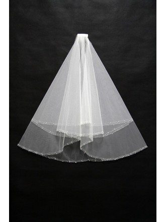 Simple Short Ivory Wedding Veil with Beading Hem