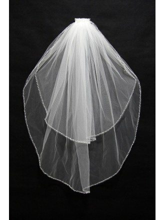 Simple Beaded Short White Wedding Veil 2 Layers