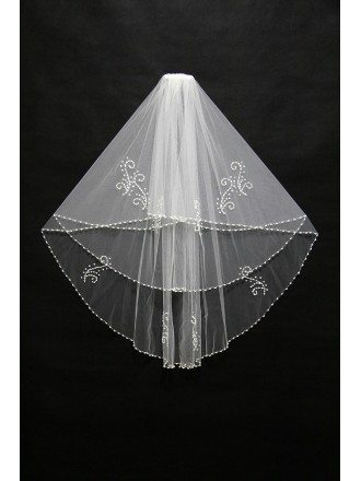 Beautiful Short White Beading Wedding Veil in Waist Length