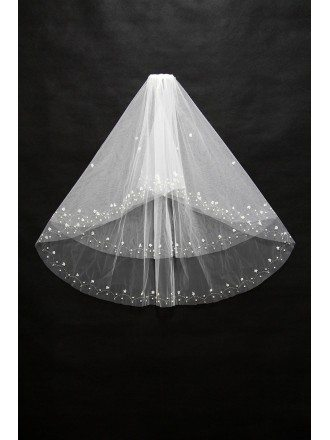 Beautiful Short White Wedding Veil with Beading