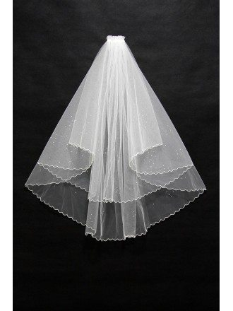 Beautiful Short Beaded Wedding Veil with Wavy Hem