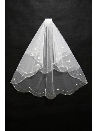 Short White Beading Bridal Veil with Comb