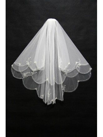 Two Layers Short Beading Wedding Veil