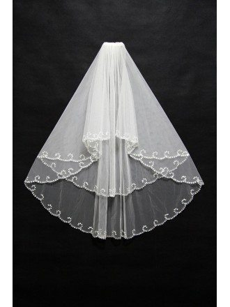 Elegant Short Beaded Wedding Veil with Curved Hem