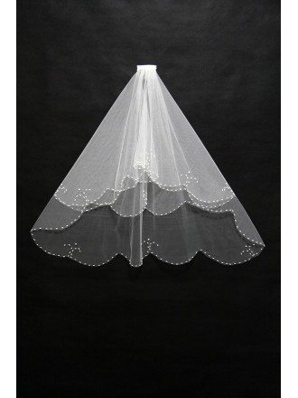 Elegant Short Ivory Wedding Veil with Beading