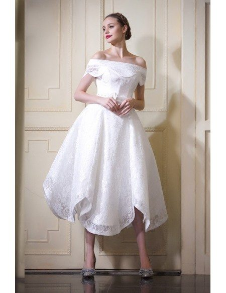 2017 Off The Shoulder Tea Length Wedding Dresses A Line Lace Style Fl03 190 Gemgracecom