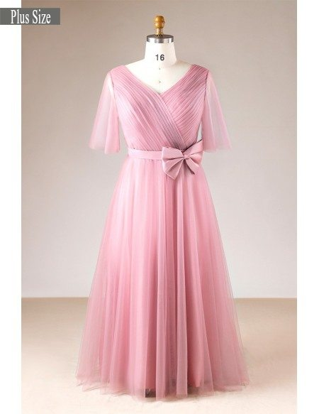 Plus Size Rose Pink Pleated V-neck Long Formal Dress With Sleeves #MN002 -  GemGrace.com