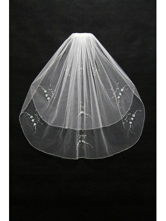 Short Tulle Ivory Bridal Veil with Beading