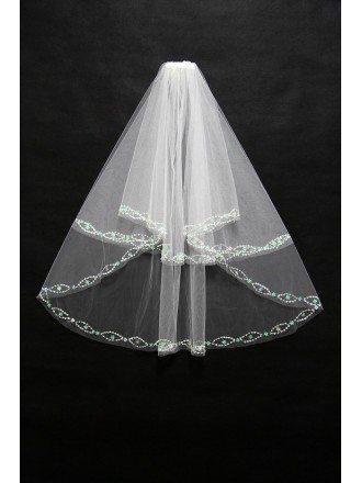 2 layers short Wedding veil with Beading Trim