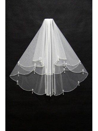Elegant Short White Wedding Veil with Beading