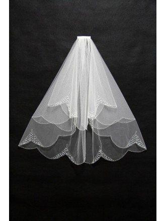 Elegant Short Tulle Beaded Wedding Veil with Comb