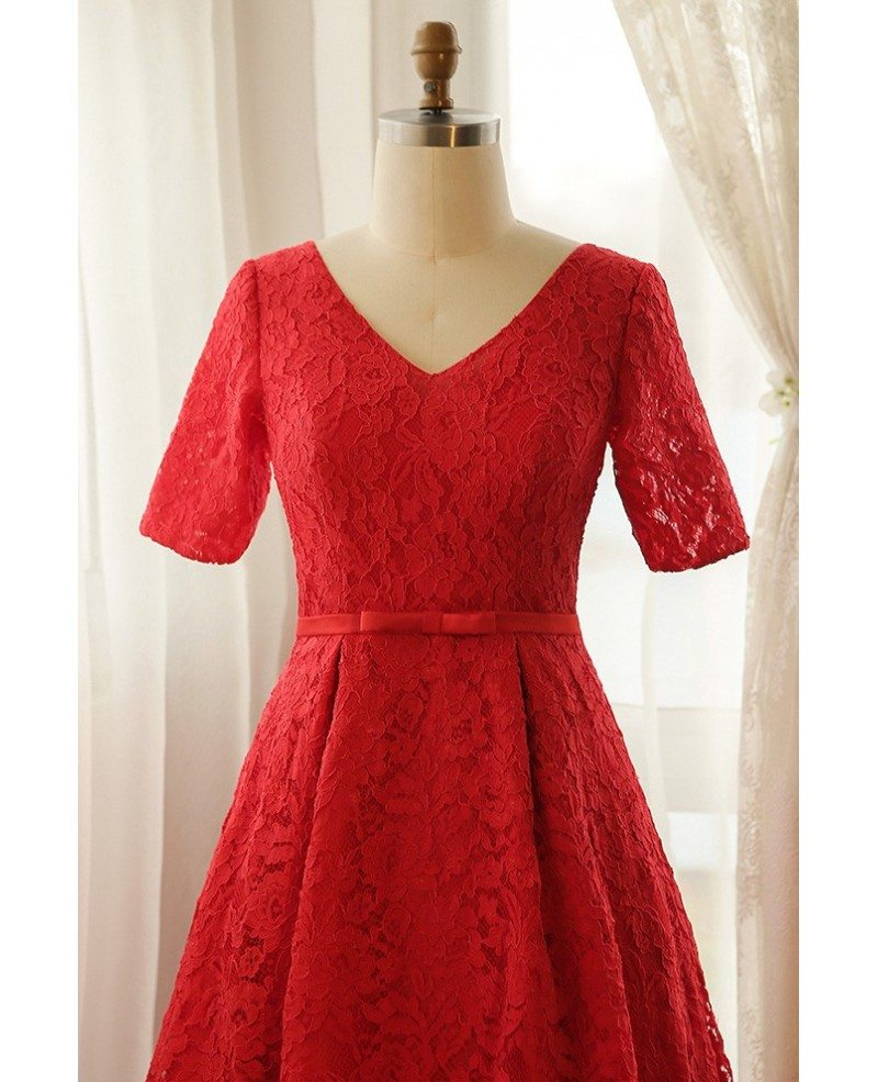 Plus Size Full Red Lace V Neck Long Formal Dress With Short Sleeves Mn007 Gemgracecom