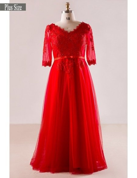Plus Size Red Lace And Tulle Long Formal Occasion Dress With Half Sleeves