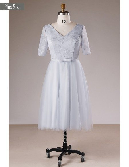Modest Dusty Grey V-neck Lace And Tulle Short Formal Dress With Sleeves