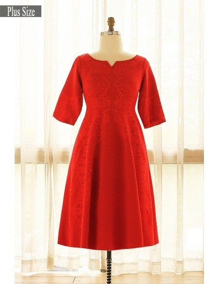 Plus Size Red Lace Short Occasion Party Dress With Half Sleeves