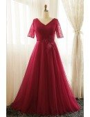 Plus Size Burgundy Long Tulle Formal Party Dress With Short Sleeves