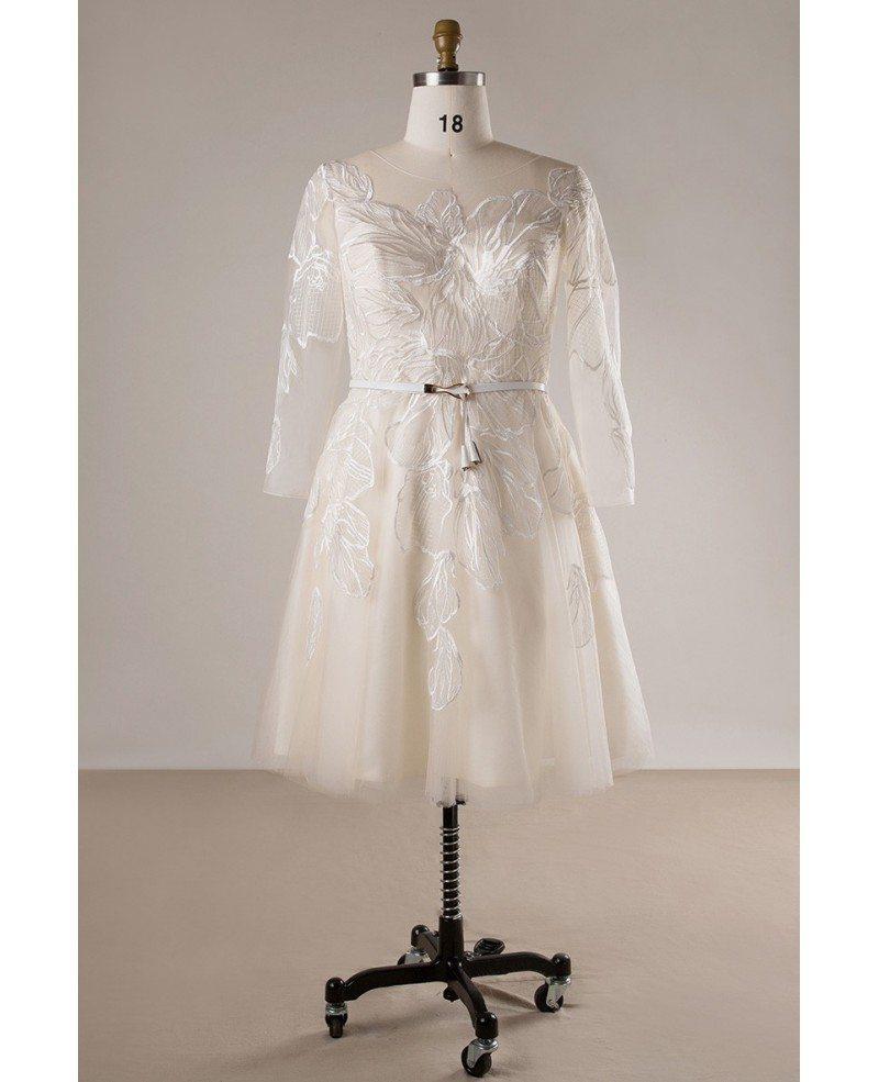 Plus Size Unique Lace Champagne 3/4 Sleeve Short Bridal Wedding Dress  #MN036 - GemGrace.com
