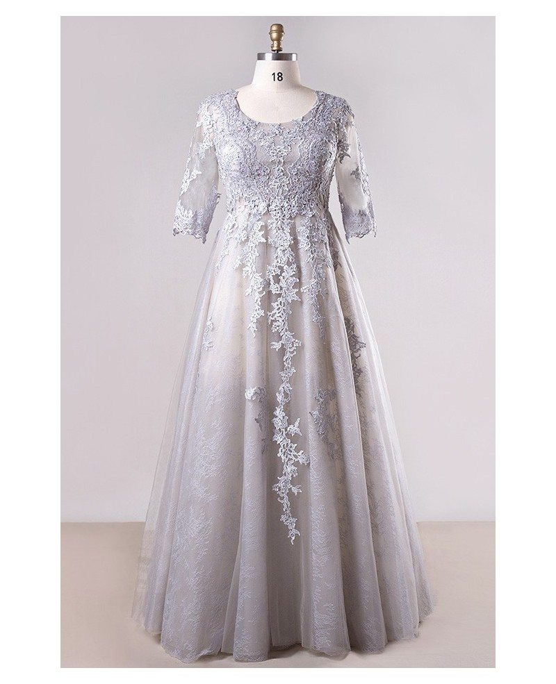 Plus Size Grey Long Lace Formal Dress With Lace Sleeves #MN044 -  GemGrace.com