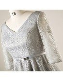 Plus Size Elegant Dusty Grey Lace Short Formal Party Dress With Sleeves