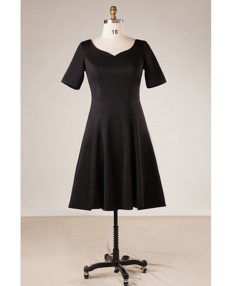 Plus Size Women Simple Black Short Party Dress With Sleeves #MN049 -  GemGrace.com