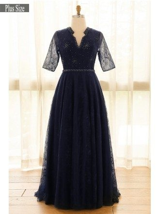 Elegant Navy Blue Plus Size Long Tulle Lace Formal Occasion Dress With Sleeves