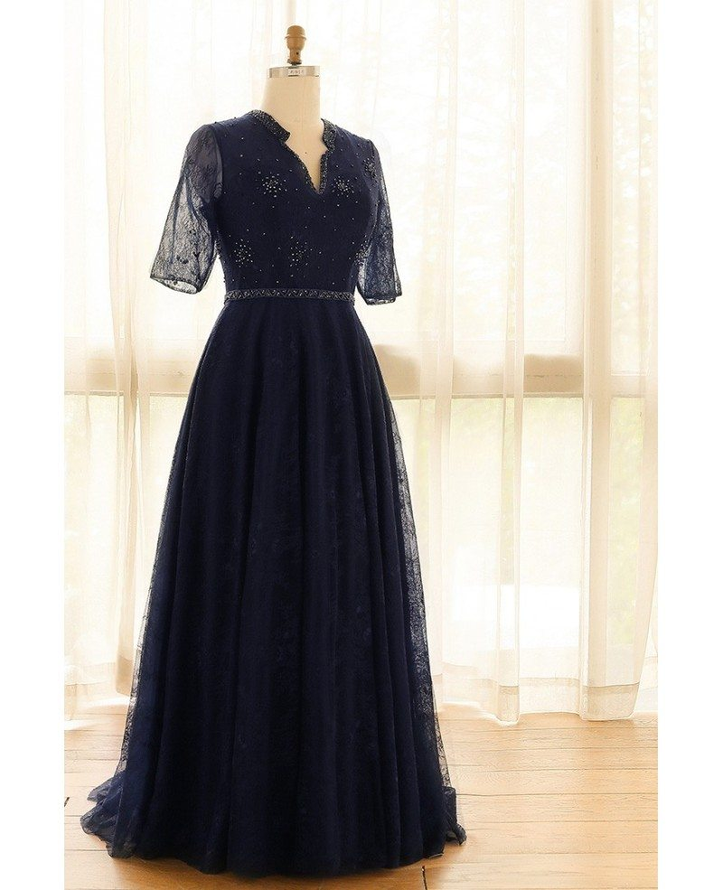 Elegant Navy Blue Plus Size Long Tulle Lace Formal Occasion Dress With  Sleeves #MN054 - GemGrace.com