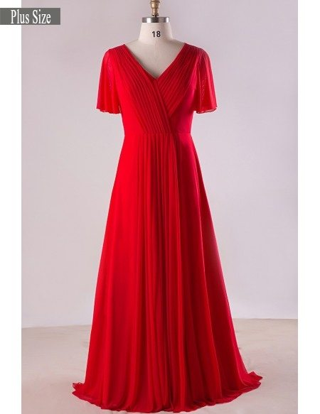Plus Size Flowing Red Chiffon Sweep Train Long Formal Bridal Party Dress