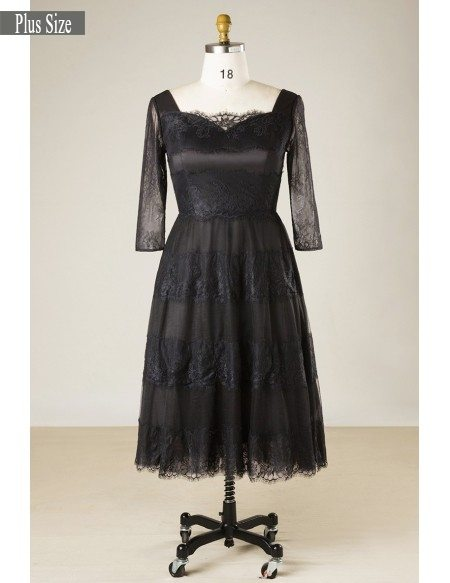 Elegant Short Black Lace Plus Size Formal Occasion Dress With Lace Sleeves  #MN060 - GemGrace.com