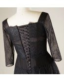 Elegant Short Black Lace Plus Size Formal Occasion Dress With Lace Sleeves