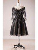 Plus Size 3/4 Lace Sleeve Little Black Short Formal Dress