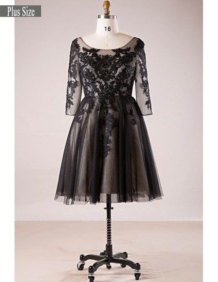 Plus Size 3/4 Lace Sleeve Little Black Short Formal Dress #MN066 -  GemGrace.com