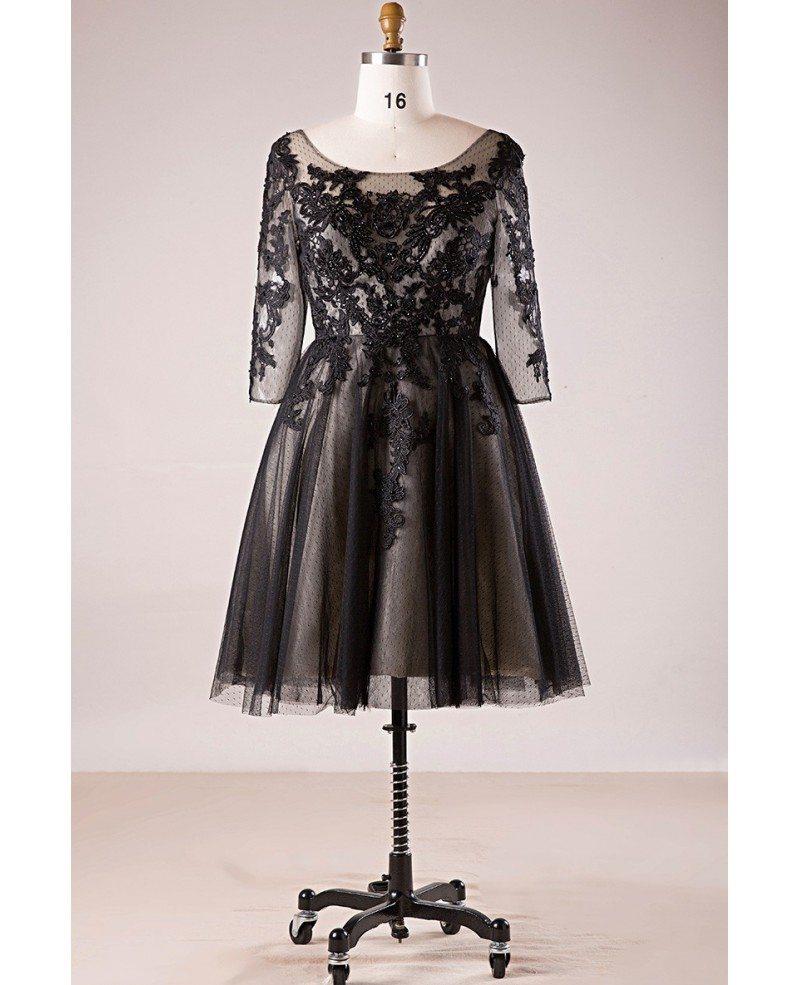 Plus Size 3/4 Lace Sleeve Little Black Short Formal Dress #MN066 -  GemGrace.com