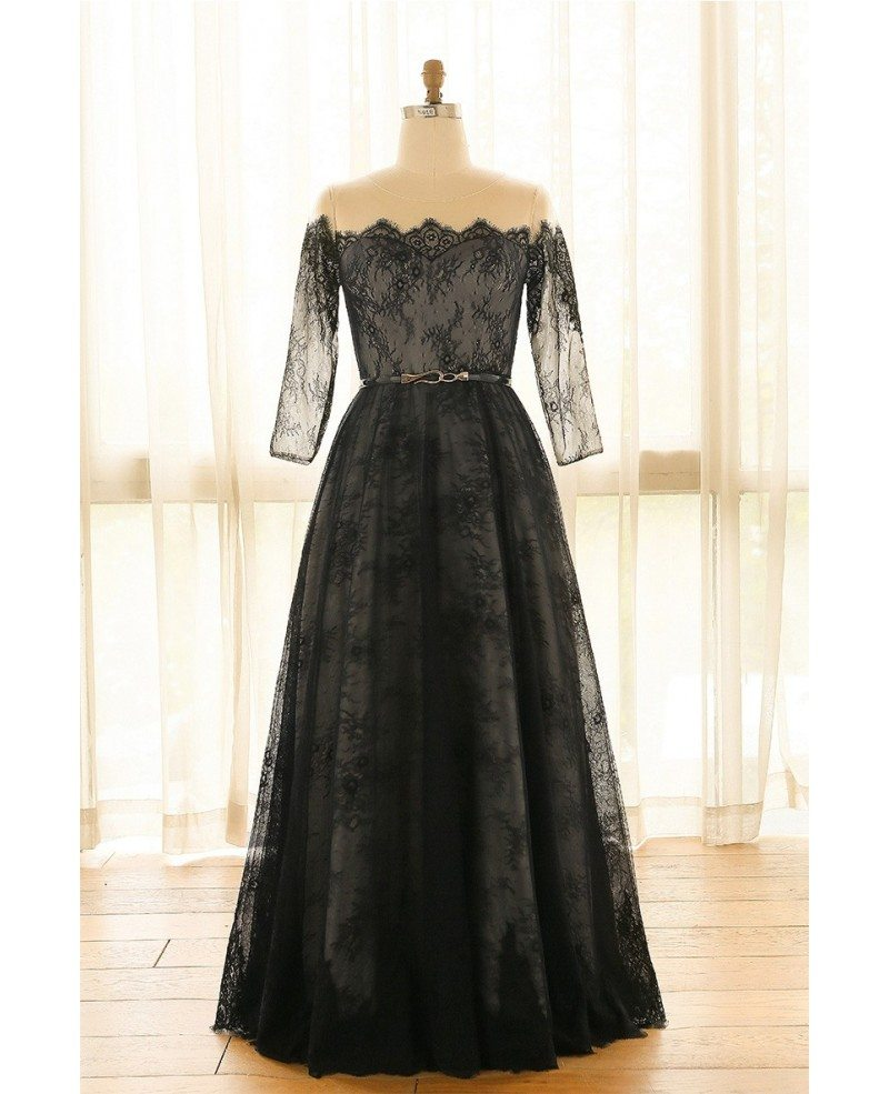 Elegant Off Shoulder Long Black Lace Plus Size Formal Occasion Dress With  Sleeves #MN067 - GemGrace.com