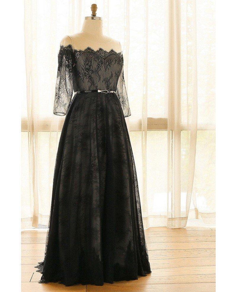 Elegant Off Shoulder Long Black Lace Plus Size Formal Occasion Dress With  Sleeves #MN067 - GemGrace.com