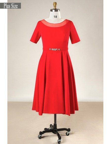 Plus Size Simple Short Red Formal Bridal Party Dress With Sleeves