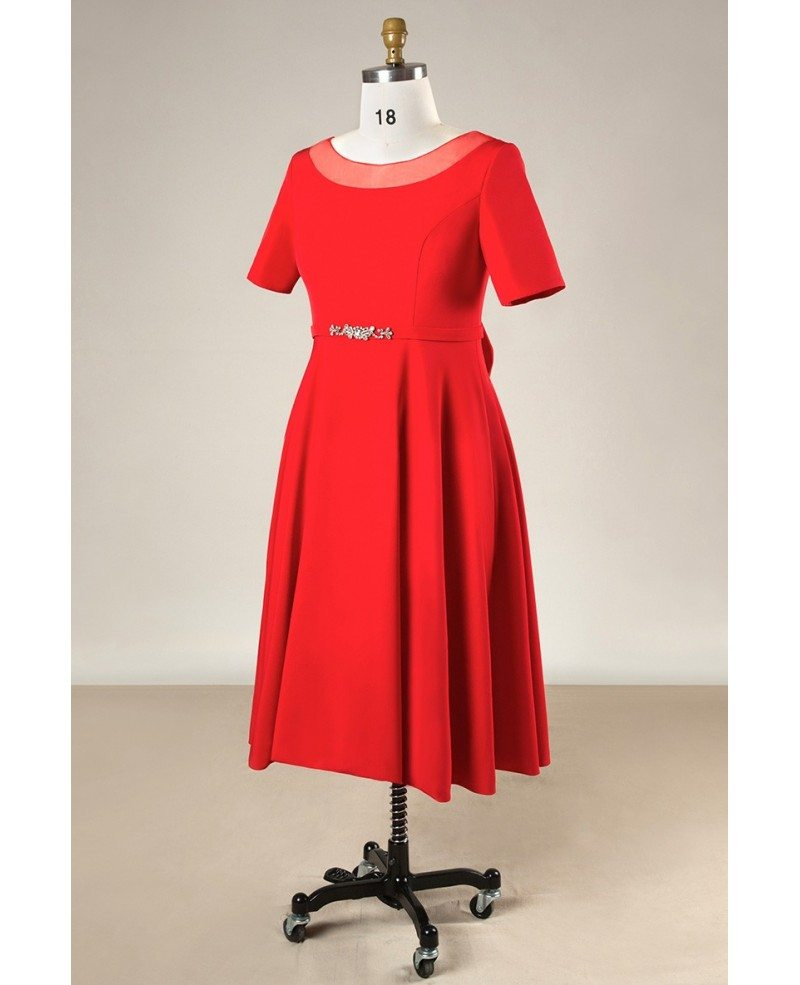 Plus Size Simple Short Red Formal Bridal Party Dress With Sleeves #MN072 -  GemGrace.com