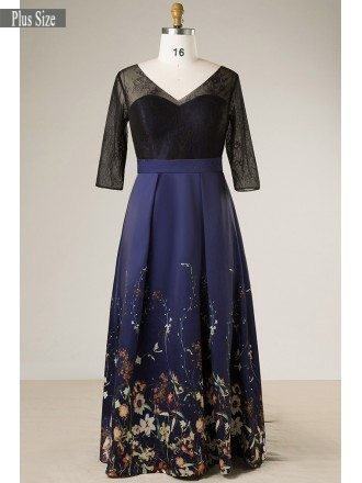 Plus Size Black With Navy Blue Floral Print Long Formal Dress With Sleeves