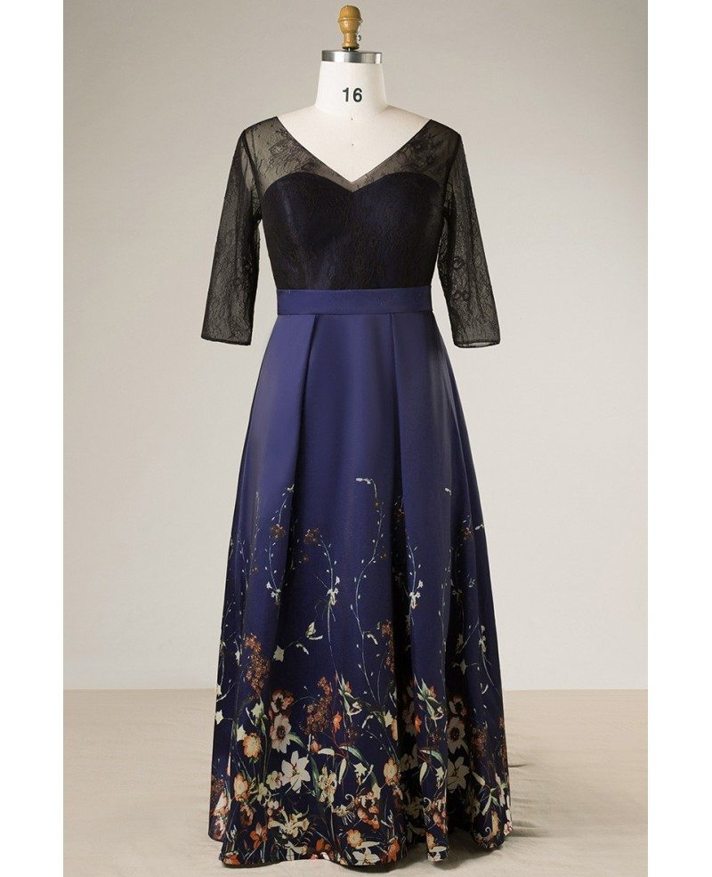 Plus Size Black With Navy Blue Floral Print Long Formal Dress With Sleeves  #MN075 - GemGrace.com