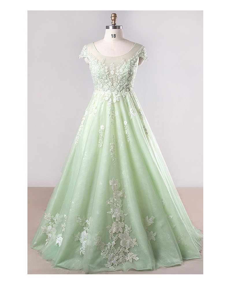 Plus Size Mint Green Lace Tulle Cap Sleeve Long Formal Party Dress #MN077 -  GemGrace.com