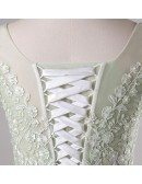 Plus Size Mint Green Lace Tulle Cap Sleeve Long Formal Party Dress
