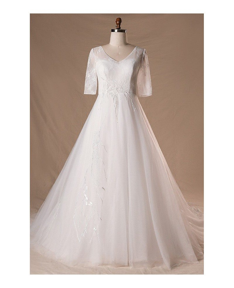 Modest V-neck And Short Sleeve Long White Plus Size Wedding Dress With  Sleeves #MN078 - GemGrace.com