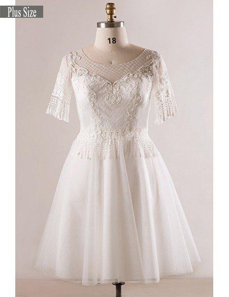 Custom Plus Size Unique Lace Short White Wedding Dress #MN079 - GemGrace.com