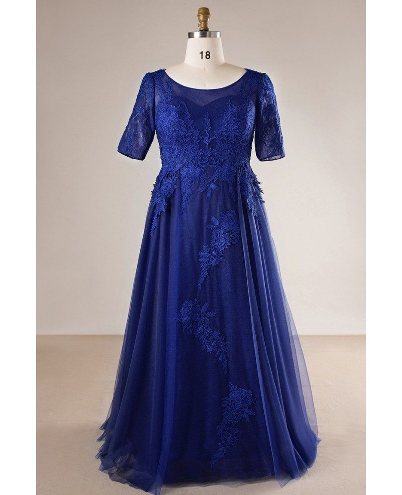 Plus Size Royal Blue Long Tulle And Lace Evening Dress With Sleeves #MN081  - GemGrace.com