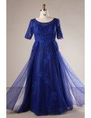 Plus Size Royal Blue Long Tulle And Lace Evening Dress With Sleeves