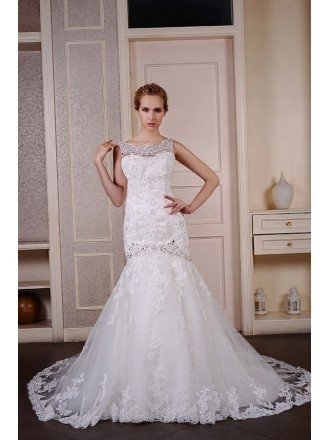 Mermaid Scoop Neck Court Train Tulle Wedding Dress With Beading Appliquer Lace