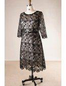 Sheath 3/4 Sleeve Black Lace Plus Size Short Formal Party Dress
