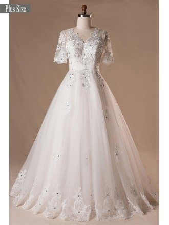 Plus Size Beaded Lace Tulle Wedding Dress With Short Sleeves